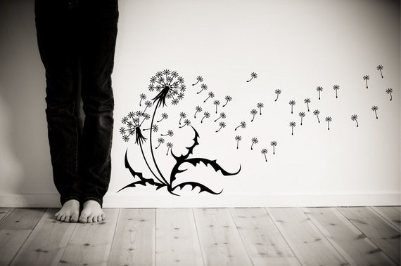 """Wall Decal Dandelions, seeds, blowing in the wind. Wall sticker removable matte vinyl 30""""x64""""  SKU 1507"""