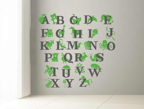 Abc wall decal alphabet decal for kids room letters and for Alphabet wall mural