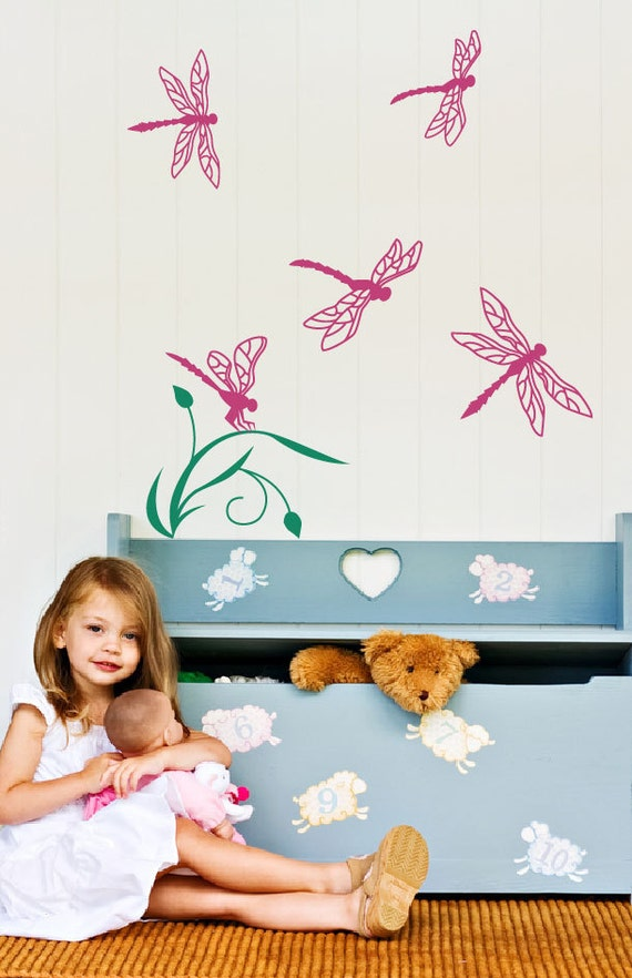 Dragonflies wall decal, kids decals room decor, nursery decal, flowers and nature decor for a playroom  FREE US and Canada Shipping