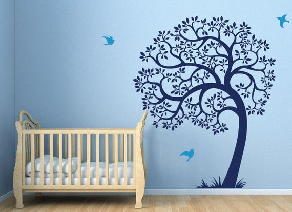 Items Similar To Tree Wall Decal Birds And Large Tree