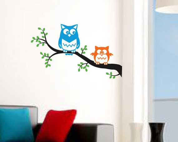 "Owl wall decal - cute OWLS on a tree branch. Birds nursery decal, kids room owl decal sticker - 23.5""x14"""