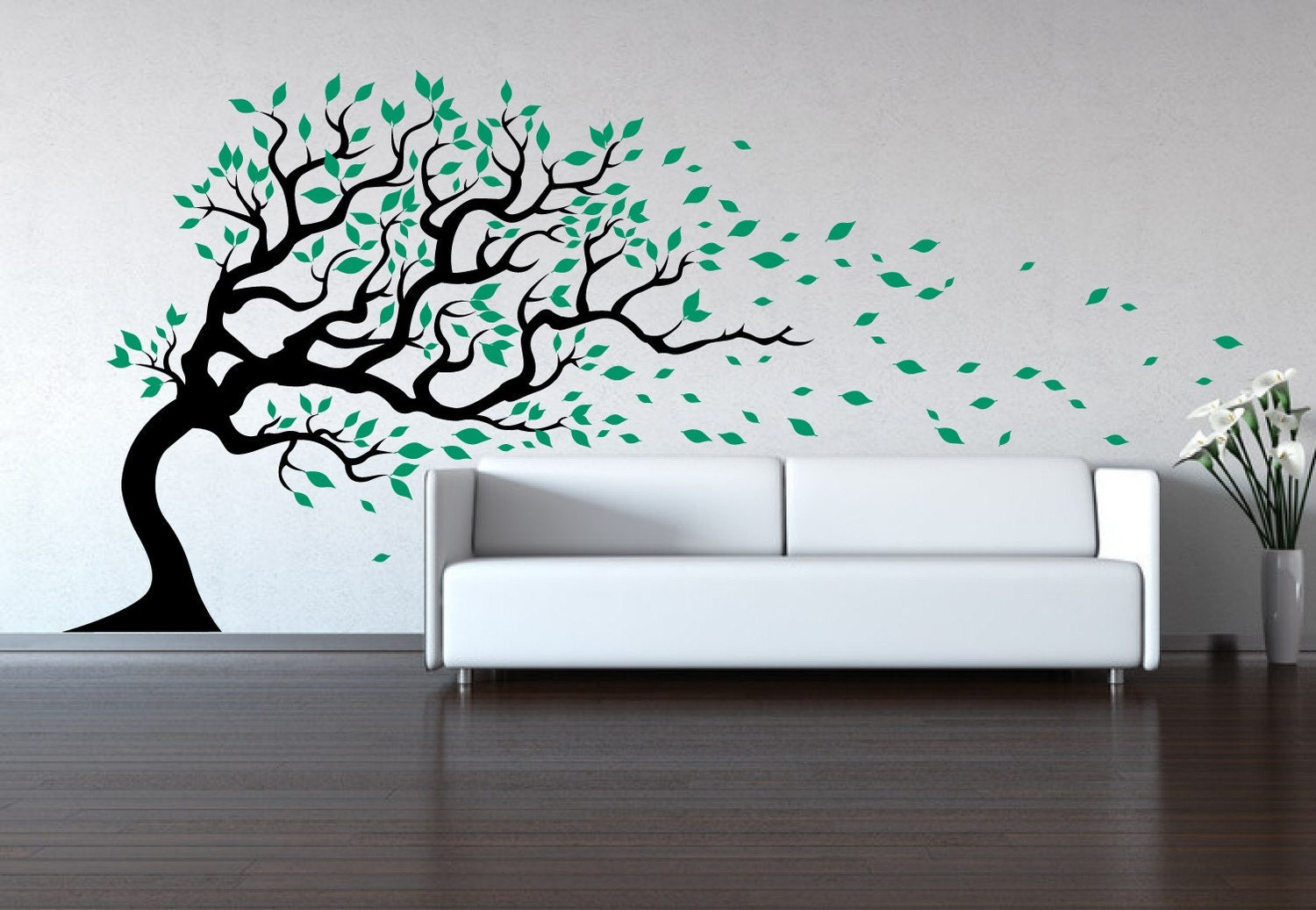 Tree wall decal wind blowing wall sticker decal baby decal for Black tree wall mural