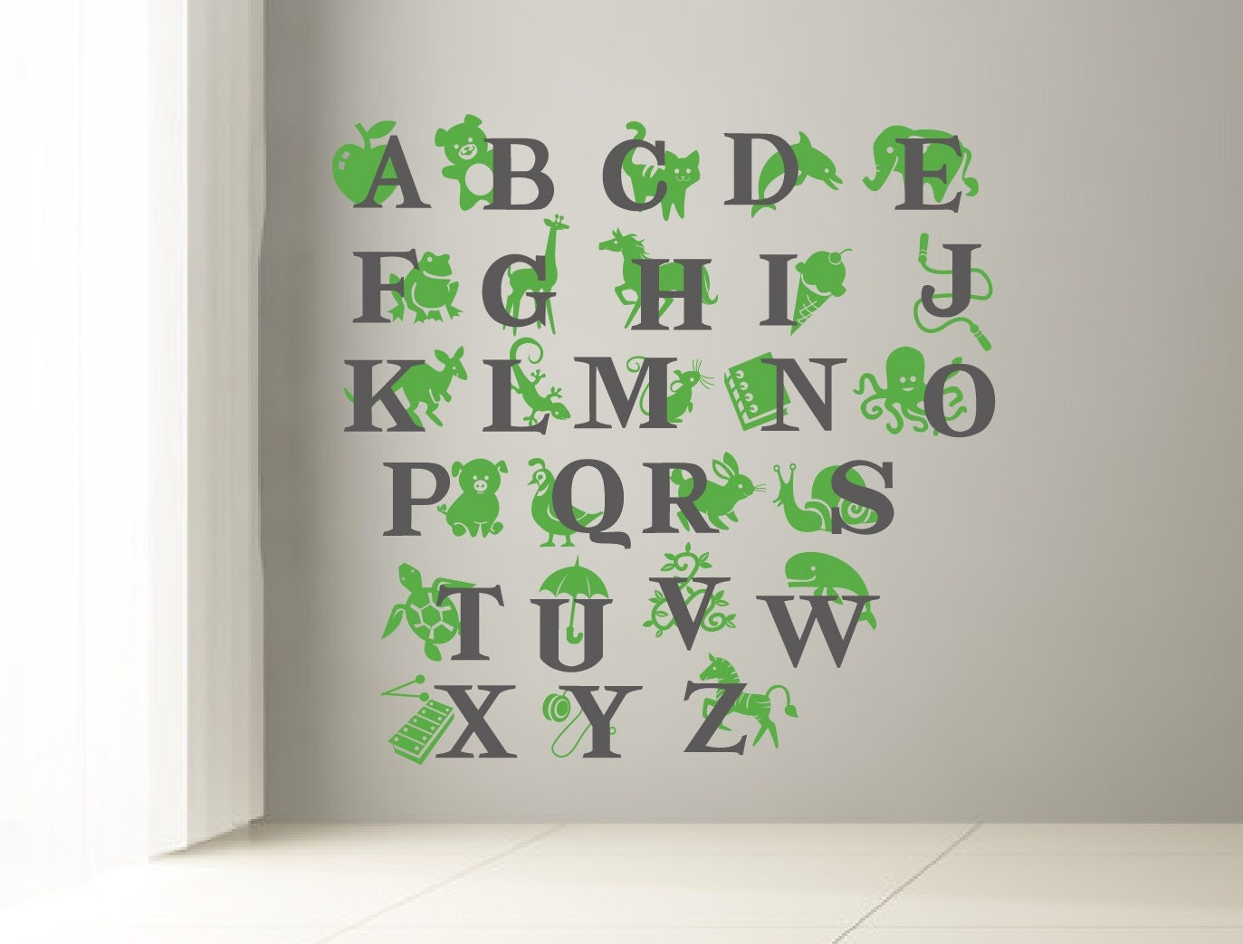 Wall Decor Decals Letters : Abc wall decal alphabet for kids room letters and