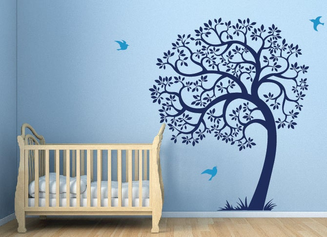 Tree wall decal birds and large tree decal sticker blue for Baby boy wall mural