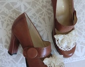 Reserved for Anastasia - Brown Leather Pumps with Lace - Antonio Melani 8.5 B - Mary Jane Shoes