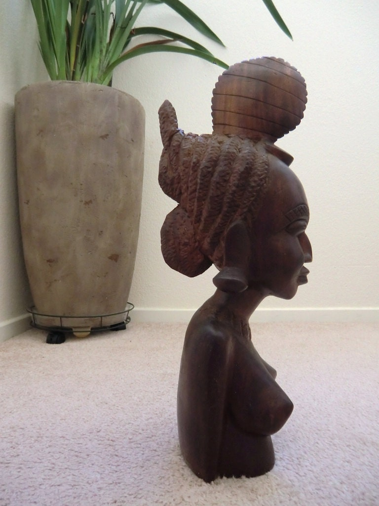 Final listing african carved wood bust nude fulani woman