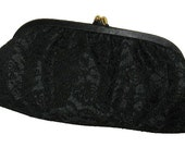 Feminine Wiles Vintage 1950's 1960's Black Lace Evening Cocktail Clutch Purse
