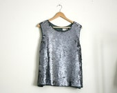 1990s mercury silver sequin embellished  silk evening top, size 2x xxl
