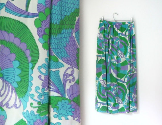 1960s pucci inspired floral and abstract psychedelic print maxi skirt, size medium
