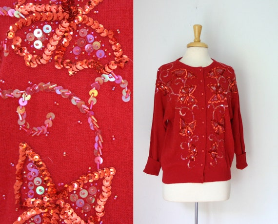 1980s scarlet red butterfly sequin motif embellished long sleeve cardigan button down sweater, size large