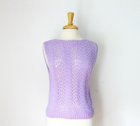 Lilac pointelle pattern Knit  boat neck spring Sweater top size small/ medium