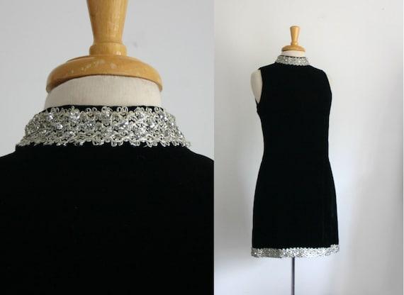 1960s black velvet a-line little black cocktail dress with metallic silver  trim size medium
