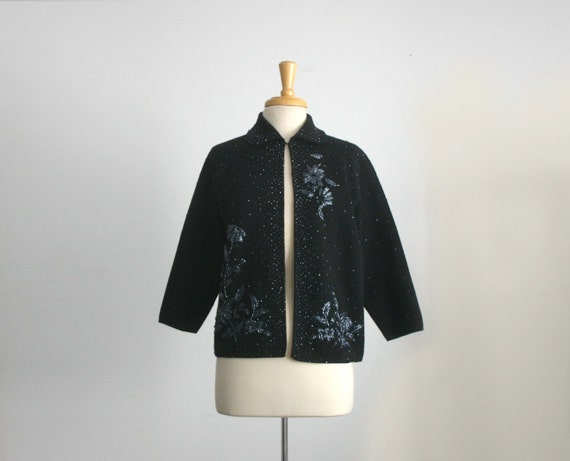 reserved for Lydia messing...1950s floral motif beaded black cardigan sweater, size large