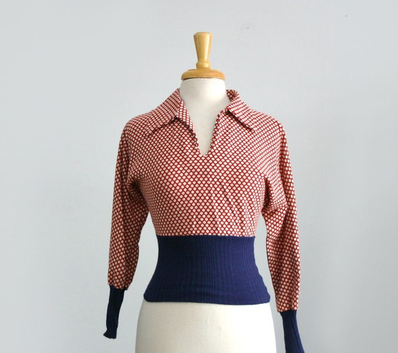 on hold for Lane...........1970s red white and blue polka dot dolman sleeve high waisted long sleeve shirt size small or medium