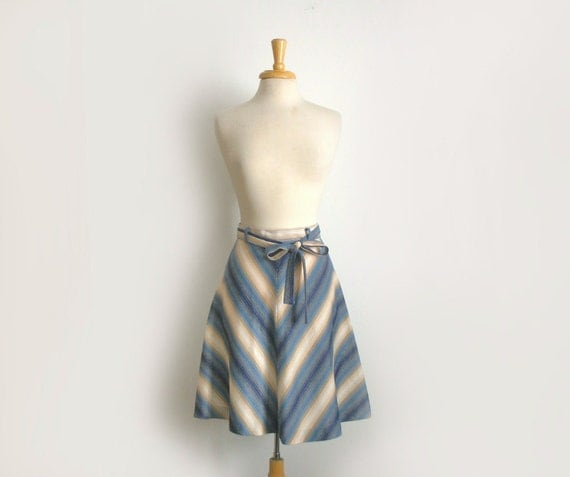 1970s chevron stripe midi length skirt in shades of blue and ivory, size medium