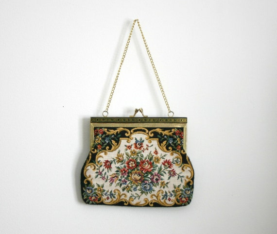 1980s small floral tapestry purse