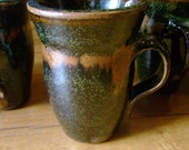 Six brown and gold matching mugs from Tilly's Touch