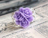 50 Percent Off Shiny Silver and Purple  Filigree Ring