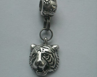 TIGER Head CHARM & PAW Print Bail, Fits most Name Brand Big-hole and Snake-type bracelets - Tigers, Bobcats, Jaguars, Wildcats, Catamounts