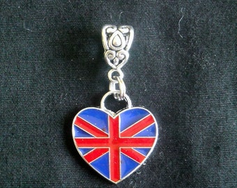 "UK Union Jack  Flag Heart-Shaped CHARM Pendant  Fits European, Major Name Brand Big Hole ""Snake"" Bracelets Buy 3 and SAVE 3/7.95"