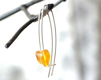 Amber Earrings, Amber Jewelry, Modern Long Ear Wire
