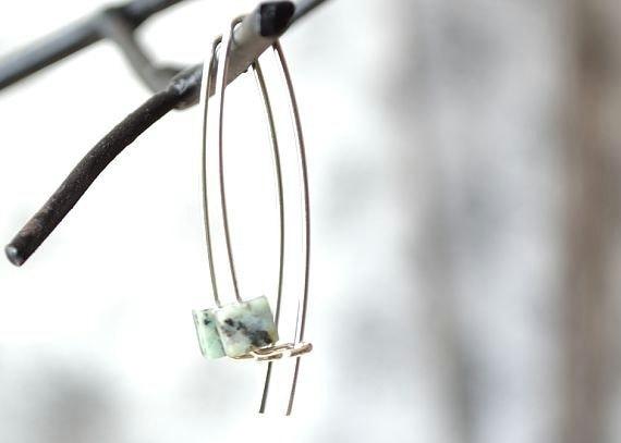 African Turquoise Earrings, Stone Jewelry, Cube Earrings, Long Earwire