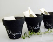 Three Sets of Three Mini Chalkboard Herb Pots