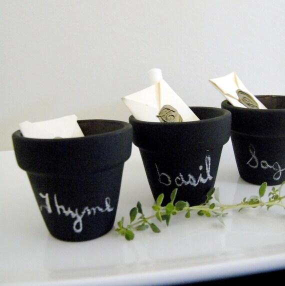 Three Sets of Three Mini Chalkboard Herb Pots