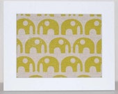 Handprinted fabric - Elephants in Star Fruit (mounted)