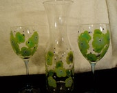 Hand Painted Wine Decanter set - Seahawk color green/blue flowers with 2 glasses