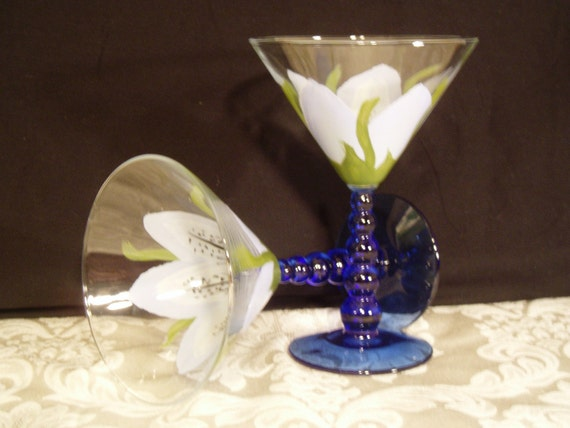 Martini glasses - Blue Lily