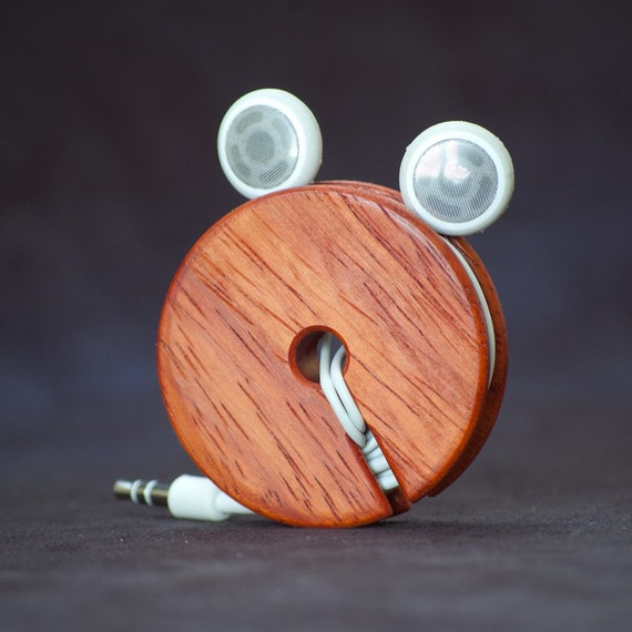 Wood Ear Bud Holder / Earphone Organizer - Padauk