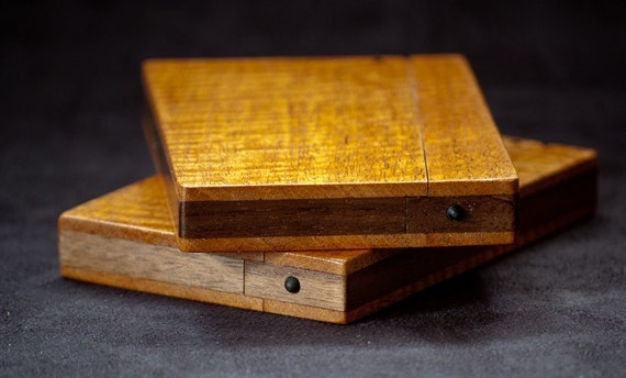 Wood Business Card Holder and Credit Card Case - Figured Mahogany and Walnut
