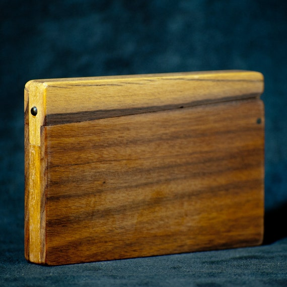 Wood Business Card Holder and Credit Card Case - Bolivian Rosewood and Teak