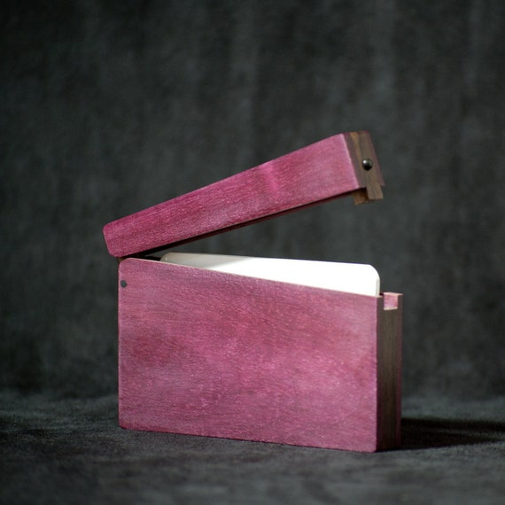 ON SALE - Wood Business Card Holder and Credit Card Case - Purpleheart and East Indian Rosewood