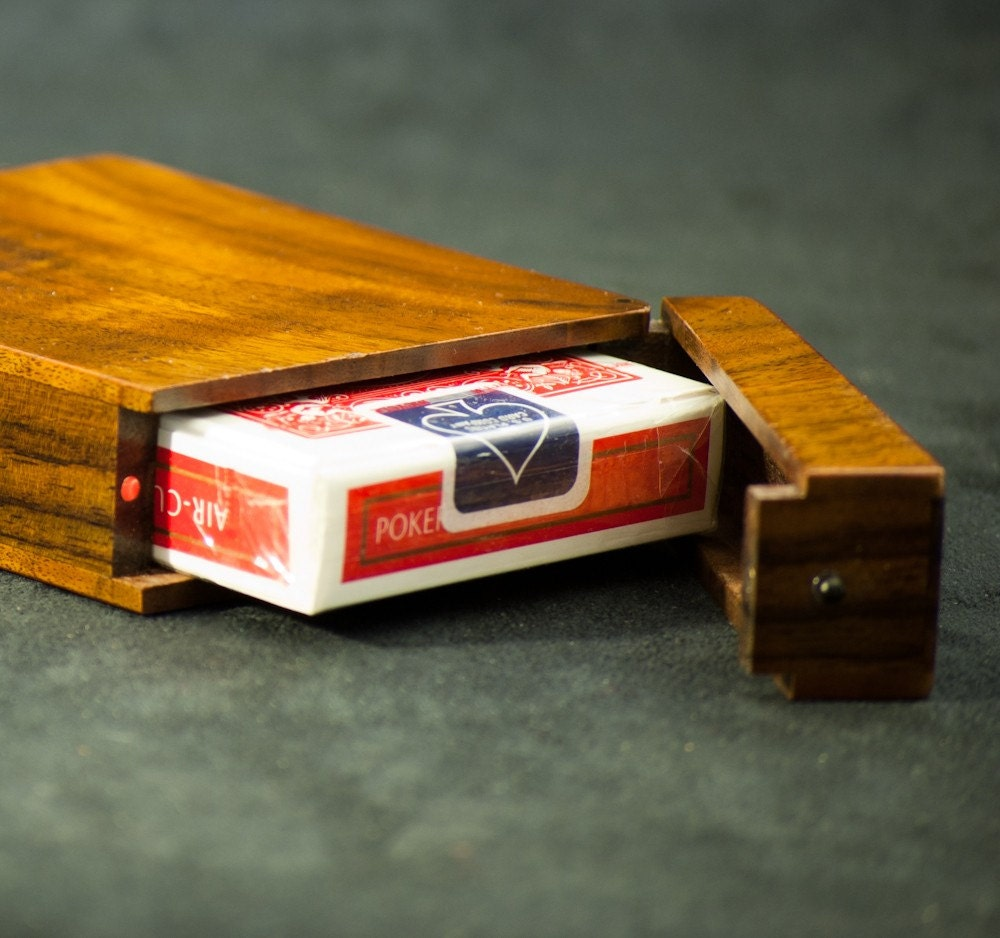 Wood Playing Card Case Walnut and Rosewood