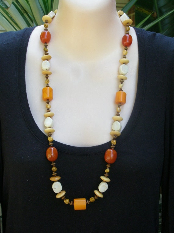 Long Orange, Brown, Cream, Coral, Resin, Wood and Jasper Colorful Necklace
