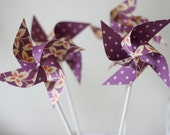 Wedding Decor Party favor 12 Mini Pinwheels Purple Butterflies (Custom orders welcomed)
