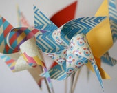 Wedding Birthday Carnival Circus Decor vintage/Retro - 6 large Pinwheels Bring in the Clowns (Custom orders welcomed)