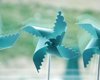 Robins Egg Blue Wedding Pinwheel Favors 12 - mini pinwheels (Custom orders welcomed)