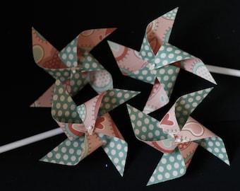 Paper Pinwheels escort cards 12 Mini Pinwheels (custom orders welcome)