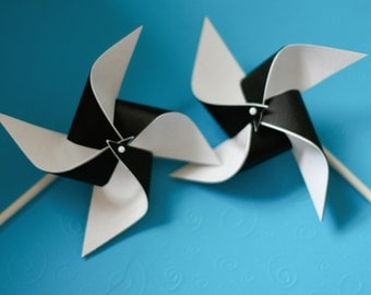 Black and white wedding decorations/black and white birthday decorations 12 Mini Pinwheels You Choose Colors