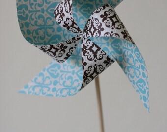 Wedding Decoration Large Pinwheel Brown/Baby Blue Kyleigh (Custom Orders Welcomed)