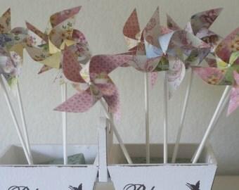 Wedding favor Pinwheels vintage -12 Mini Pinwheels Vintage (Custom orders welcomed)