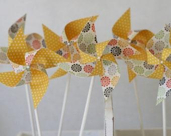 Baby Shower Wedding Shower Pinwheels 12 Mini Pinwheels Yellow Sunrise  (custom orders welcomed)
