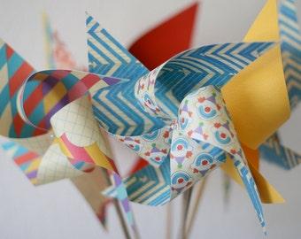 Wedding Birthday Carnival Circus Decor vintage/Retro - 6 large Pinwheels Bring in the Clowns (Custom orders welcomed)