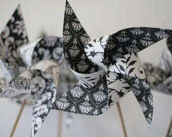 Large Paper Pinwheels Damask 6 large Spinnable Pinwheels (custom orders welcomed)
