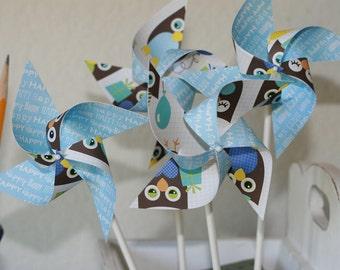 Owl Party favor Pinwheels Owl Party-12 Mini Pinwheels (Custom orders welcomed)