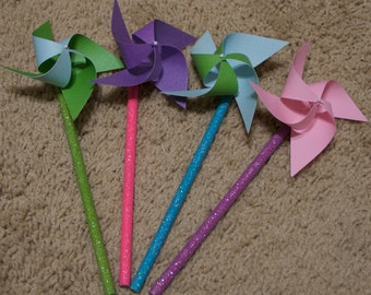 Easter Favors Pinwheels Bunnies Rabbit Party Favors Birthday Favors 12 Twirling Pinwheels Table Centerpiece Easter Pastel 6 Pinwheel pencils