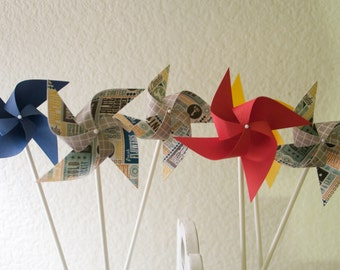 Carnival Circus Decor vintage/Retro - 12 mini Pinwheels Going to the circus (Custom orders welcomed)